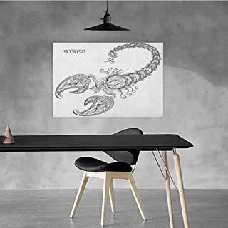 Xlcsomf Pop Art Oil Painting Zodiac Scorpio Beautifully Decorated Hand Drawn Line Art Style Floral Animal with Inscription Tattoo Design W20 x L16 Black and White