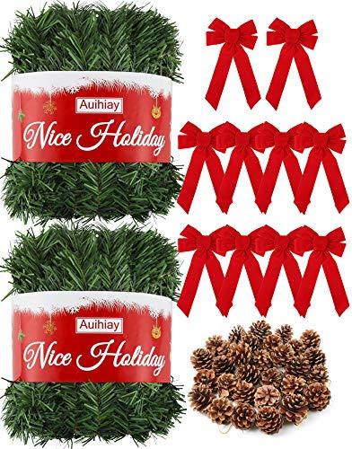 Auihiay - Guirnalda de Navidad (33 m), color verde con 10 grandes lazos rojos y 30 conos de pino, para decoración de Navidad, al aire libre, interior, hogar, vacaciones, guirnalda de decoración