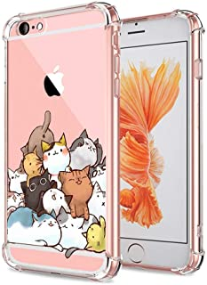 iPhone 6S Case Cat, Ultra Crystal Clear with Design Cute Pile of Cat Texture Bumper Protective Case for Apple iPhone 6 6S ...