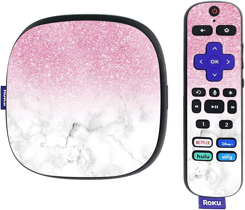MightySkins Glossy Glitter Skin Compatible with Roku Ultra HDR 4K Streaming Media Player (2020) - Marble Glitz   Protective, Durable High-Gloss Glitter Finish   Easy to Apply   Made in The USA