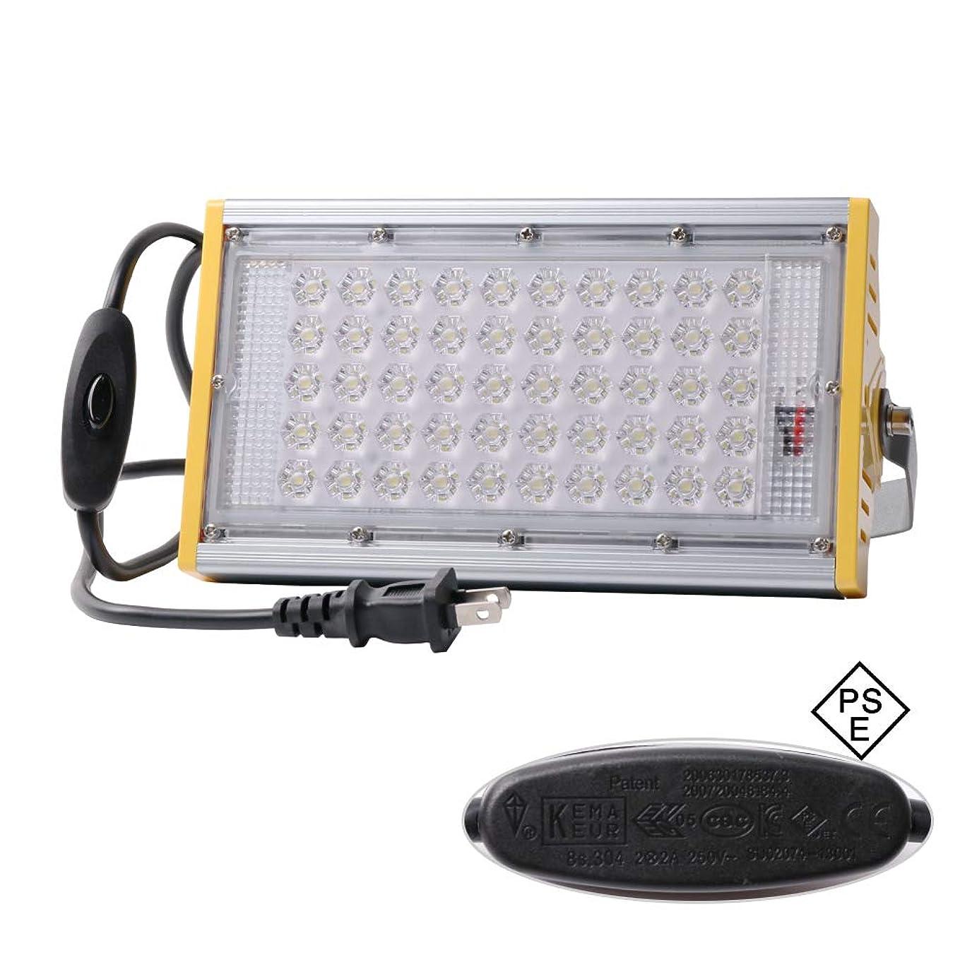 キャッチローブフェンスLED投光器 50W 改良版 屋外用 薄型 AC85~265 180°回転 led作業灯 スイッチ付 3mコード 防水防塵 防犯 作業灯 集魚灯 看板灯 駐車場 18ヶ月保証
