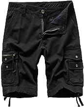 iYBUIA Men's Summer Casual Large Size Solid Outdoor Button Zipper Pocket Beach Work Pants Cargo Shorts M-4XL