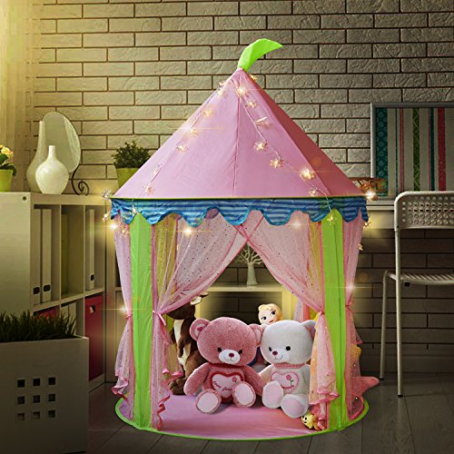 Sonyabecca Girl's Princess Castle Tent with 5 Meter Battery Operated Indoor Decoration Fairy Lights 50pcs LED Snowflakes lightiing Pink Playhouse for Girls Pop up Tent Reading Room