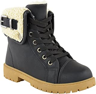 Fashion Thirsty Womens Snow Winter Faux Fur Lined Ankle Boots Flat Low Heel Grip Sole