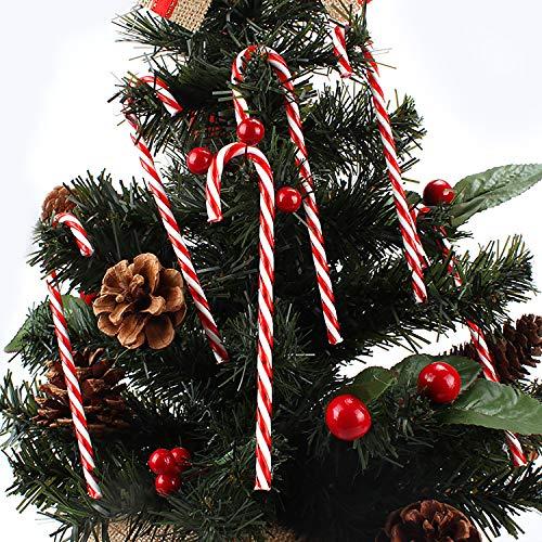 TATAFUN Bastoncini di Zucchero Rossi Rosso e Bianco Addobbi Albero di Natale Decorazioni Natalizi con Corda d'Argento (12 PCS)