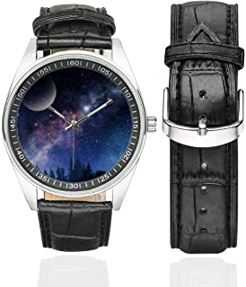 Starry Night Sky Space Galaxy Waterproof Men's Stainless Steel Casual Leather Strap Watches, Black