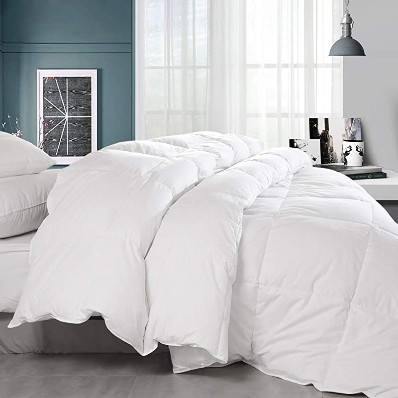 Balichun Premium Goose Down Comforter Queen Solid White Soft 1500 Thread Count Cotton Shell 750 Fill Power Down Duvet Insert With Tabs White Queen