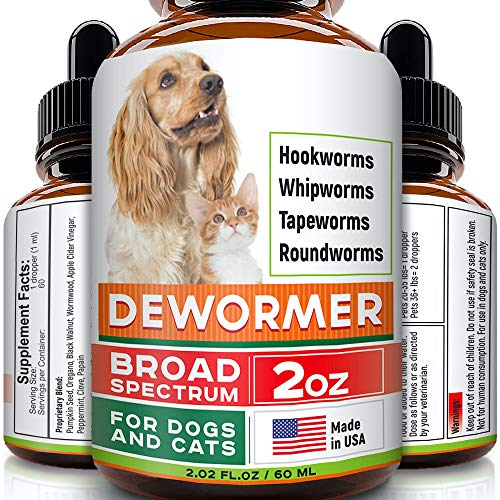 GOODGROWLIES Dewormer for Dogs and Cats - Made in USA Broad Spectrum Worm Treatment - Eliminates & Prevents Tapeworms, Roundworms, Hookworms, Whipworms - All Breeds and Size - Puppy & Kitten - 2oz