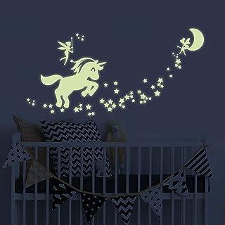 BENBO Unicorn Wall Decals Glow in The Dark Unicorn Stars Fairytale Fairy Wall Stickers DIY Kids Girls Bedroom Home Nursery...