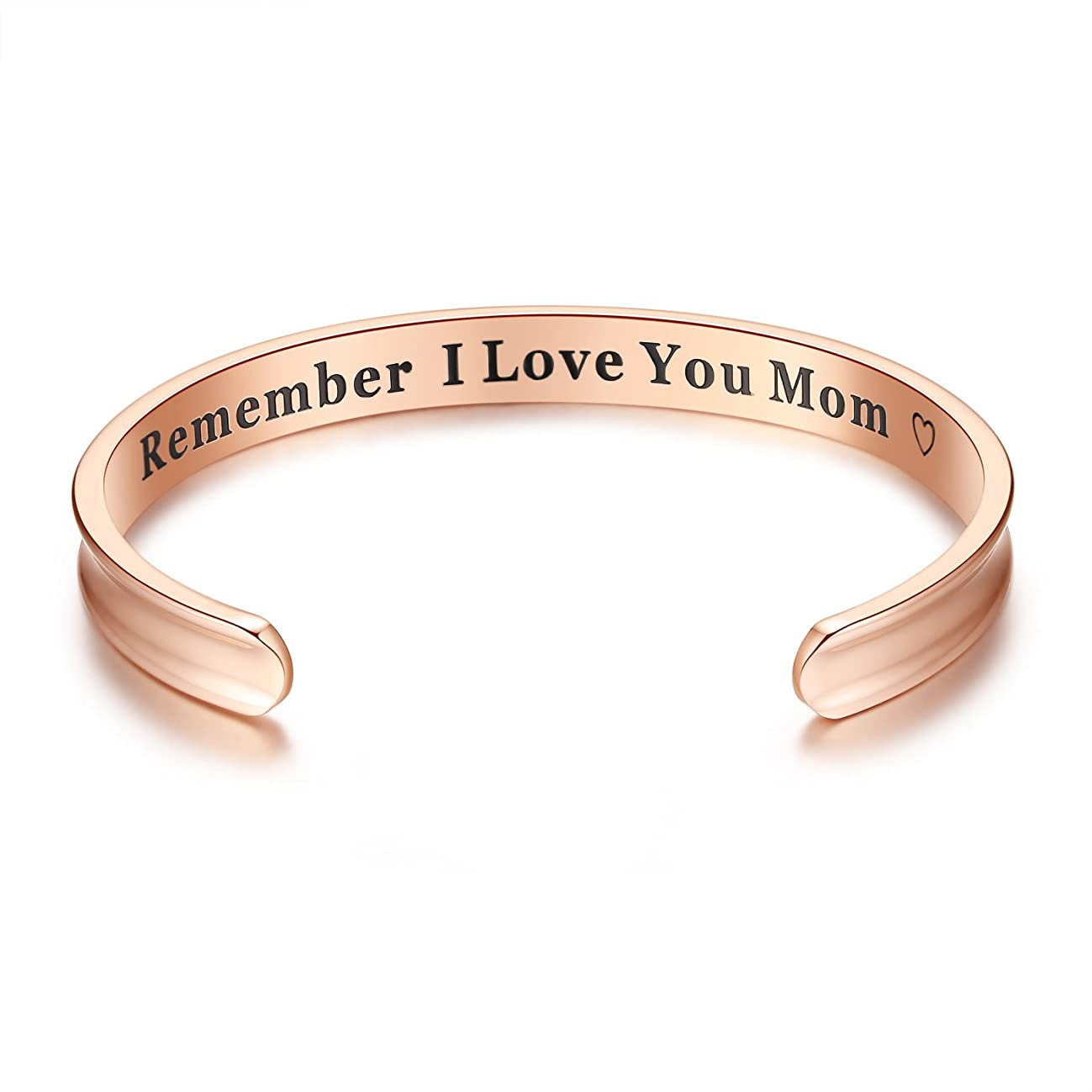 Milamiya Remember I Love You Mom' Cuff Bangle Bracelets from Mom and Daughter Birthdays