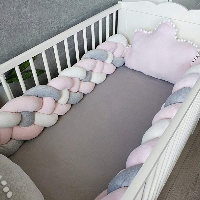 Baby Crib Bumper Plush Knotted Braided Bumper Handmade Soft Knot Pillow Sleep Safety Nursery Cradle Decor Newborn Gift Crib Protector 4 Strands Gray White Pink 79 Inch