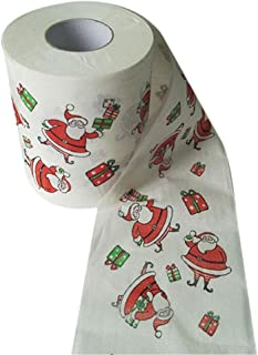 lotus.flower Merry Christmas Hand Roll Towel Santa Claus Christmas Pattern Roll Paper Print Interesting Toilet Paper Table Kitchen Paper Towel (Christmas Pattern)