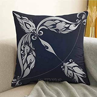 FreeKite Zodiac Bedding Soft Pillowcase Astrology Sign Sagittarius with Flower Images Planetary Impacts on Nature Theme Hypoallergenic Pillowcase W20 x L20 Inch Blue Silver