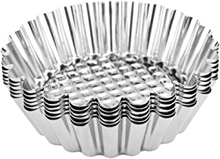UPKOCH 16pcs Egg Tart Mould Tartlet Molds Stainless Steel Cupcake Cake Cookie Mold Pudding Mould Tin Baking Cups Bakery Ba...