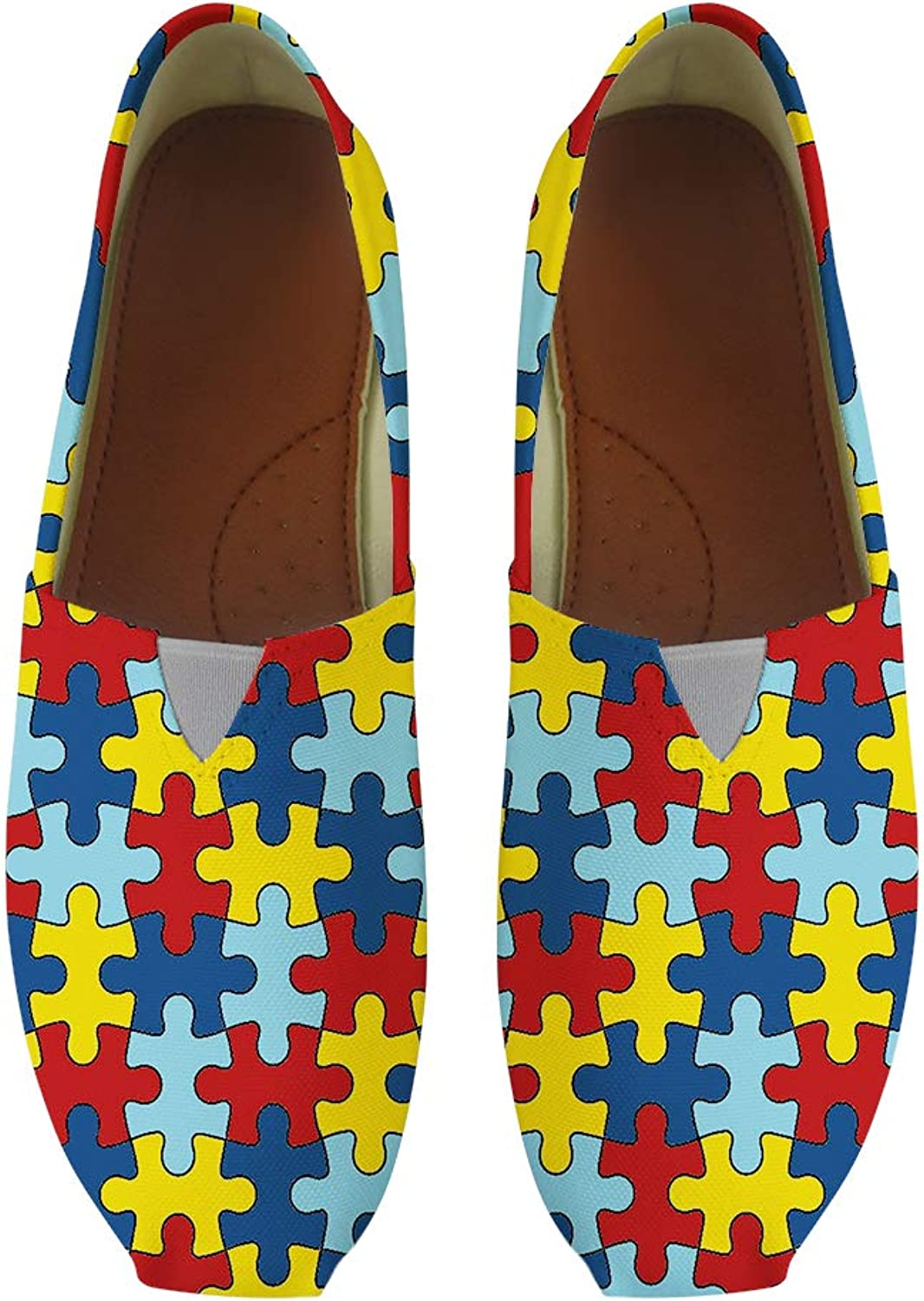 Classic Canvas Slip-On Lightweight Driving shoes Soft Penny Loafers Men Women Autism Awareness Puzzle