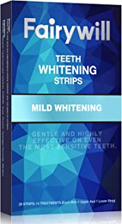 Fairywill Teeth Whitening Strips Non-Slip Professional Effect Whitening Strips, 14 Treatments 28 Strips Remove Coffee Tea and Tobacco Stains in 30mins, Sensitive Teeth White Strips
