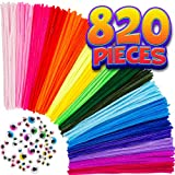 Pipe Cleaners Craft Chenille Stems - 820 Pcs, 35 Assorted Colors with Googly Eyes for DIY Art & Craft...