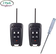BingSnow 2 Pack 5 Button Replacement Remote Fob Key Shell for Chevrolet Camaro Chevrolet Cruze Chevrolet Equinox Chevrolet Malibu Chevrolet Sonic (No Chip) and 1 Pcs Screwdriver