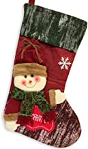 BANBERRY DESIGNS Woodsy Holiday Stocking- Jolly 3D Snowman Wearing Plush Stocking Hat and Scarf with Merry Christmas Sign ...
