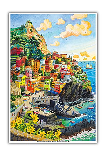 Pacifica Island Art Manarola, Italy - Cinque Terre Coastal Town - Italian Riviera - From an Original Watercolor Painting by Robin Wethe Altman - Master Art Print - 13in x 19in