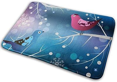 鳥と屋内玄関冬 歓迎玄関玄関ノンスリップバッキング玄関マット40X60 cm