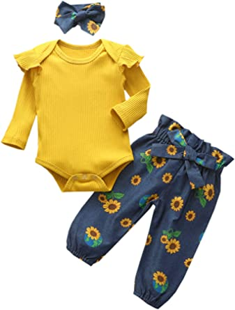Newborn Baby Girl Clothes, 3Pcs Infant Baby Girl Stuff Fall Outfit Sets