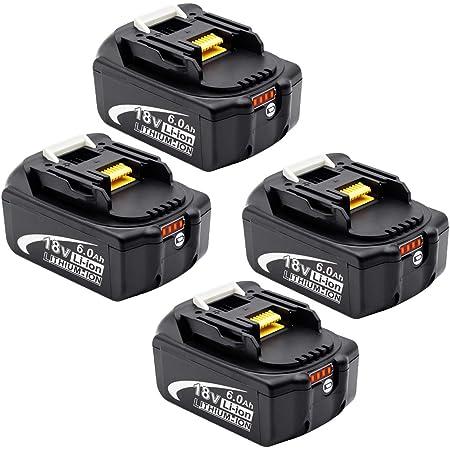 マキタ 18v バッテリー bl1860b残量指示付き 全新高品質セル採用 6.0Ah マキタ18v互換 バッテリーBL1830 BL1840 BL1850 BL1860 リチウムイオン電池 PSE取得済み BL1860B 6.0Ah 4個セット