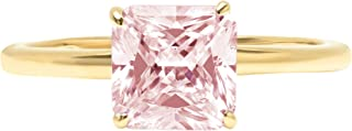 2.0 ct Brilliant Asscher Cut Solitaire Pink Simulated Diamond CZ Ideal VVS1 D 4-Prong Engagement Wedding Bridal Promise Anniversary Ring Solid Real 14k Yellow Gold for Women