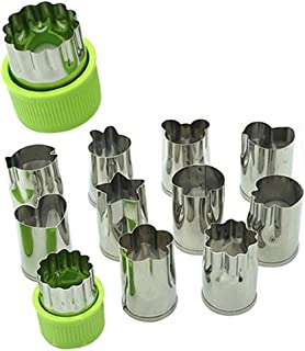 Cookie Cutter Set Multi Vegetable Cutter Mold Kitchen Handheld Flower Shaped Stainless Steel Cute Smart Cake Decorating Watermelon Carrot Fruit Cutters Funny Cookie Mold (Green 12 Piece)