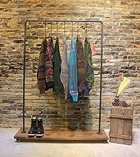 Industrial Pipe Clothing Rack Wood Garment Rack Pipeline Vintage Rolling Rack with wheels