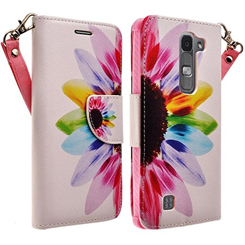 Microseven LG Volt 2 Case Cover, LG Magna Case Cover, LG G4 Mini Case Cover (Boost Mobile), LG Magna, LG Volt 2, Magnetic Leather Flip Wallet Case with Card Slots Cash Compartment with Microseven Packaging (WALLET SUN FLOWER)