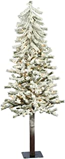 Vickerman 4' Flocked Alpine Artificial Christmas Tree with 100 Clear Lights