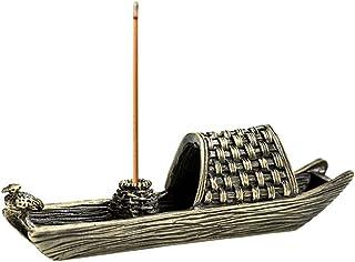 ZLCA Brass Fishing Boat Censer Stick Incense Holder Cone Incense Burner Ash Catcher Home Fragrance Accessories Bronze
