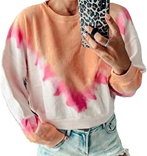 Women Long Sleeve Round Neck Printed Sweatshirts Tunic Blouses Tops