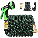 Extendable Garden Hose 15m, Garden Hose with Stand and 10 Function Sprinkler Gun Retractable Garden Hose Solid Brass Fittings, Irrigation and Garden Cleaning (50ft, Black Green)