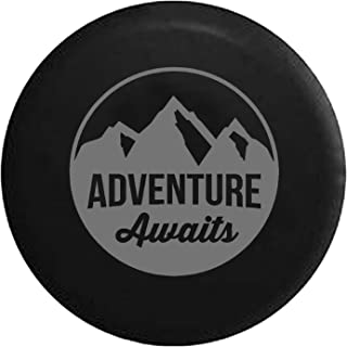 Adventure Awaits Mountain View Spare Tire Cover fits SUV Camper RV Accessories Gray Ink 33 in