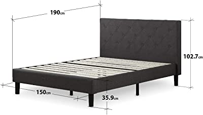 Zinus Cama de plataforma con tapizado acolchado y costuras de ...
