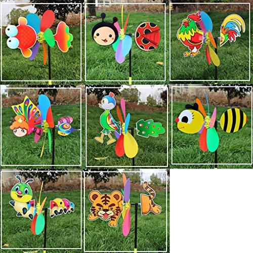 AXSWER Aufbewahrungstasche Windspiel für Garten, buntes Cartoon-Tier-Windrad für Zuhause, Garten, Hof, Outdoor-Dekoration