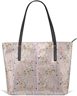 Dreamy floral pattern Leather Tote Large Purse Shoulder Bag Portable Storage HandBags Convenient Shoppers Tote