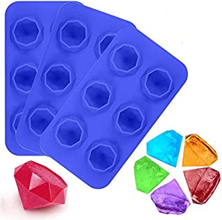 LUCKSTAR Diamond Ice Cube Tray - 3 Pack Silicone Ice Make Mold - 3D Jelly & Candy & Chocolate & Coffee & Whisky Freeze Ice Molds (Three Blue)