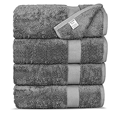 Chakir Turkish Linens Luxury Ultra Soft Bamboo 4-Piece Set, Bath Towels, Gray