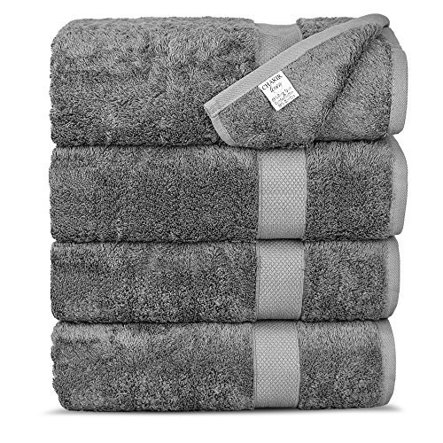 Chakir Turkish Linens Luxury Ultra Soft Bamboo 4-Piece Bath Towel Set, Gray