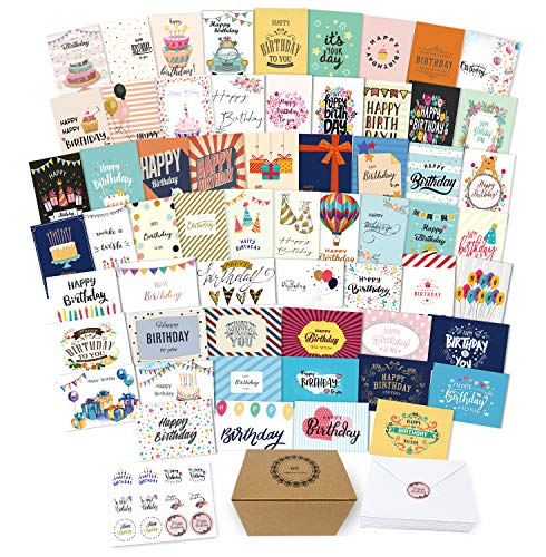 60 Unique Birthday Cards - Birthday Cards Bulk With Greetings Inside-Large Happy Birthday Cards With Envelopes and Stickers Included-5x7 Inch Assorted Birthday Cards