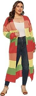 HAPPIShare Womens Open Front Long Sweater Cardigans Boho Long Sleeve Color Block Knit Lightweight Kimono Duster Coats