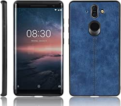 For Nokia 8 Sirocco Shockproof Sewing Cow Pattern Skin PC + PU + TPU Case New (Black) Shaoy (Color : Blue)