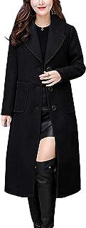 Women's Big Notch Lapel Single Breasted Mid-Long Wool...