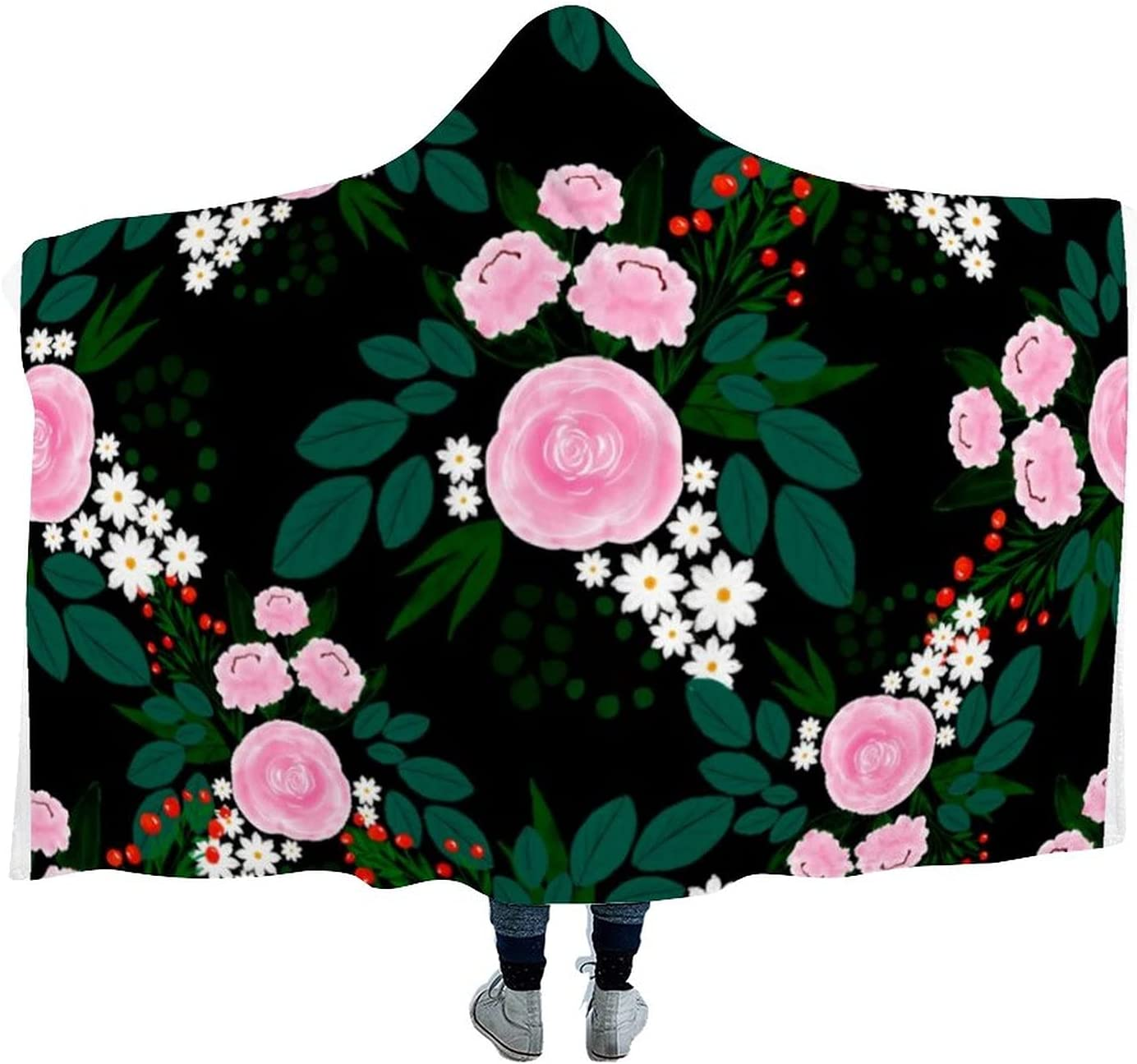 5 ☆ very popular Elegant specialty shop Pink and White Floral Watercolor Wearable Hooded Paint B
