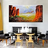 キャンバスに手描き油絵現代抽象風景パレットナイフ油絵、北欧ヴィンテージレッドヒルズと青い水、ホームリビングルームのオフィスホテル、ノーフラムのための大きな壁の芸術の装飾