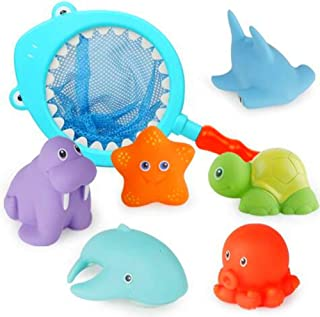 Baby Bath Toy Set Squirt Water Fun Toy Sounds Scoop Net Fish Pool Toys Soft Rubber Float Bathtub Toys Cute Animals Bath To...