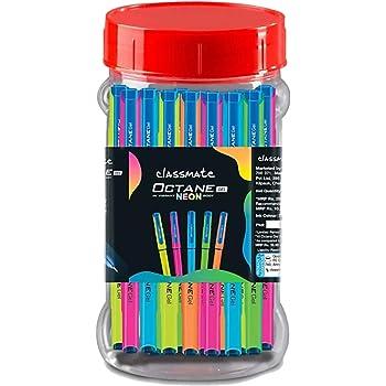 Classmate Octane Gel Pen- Neon Series (Blue)- Pack of 25 + 10 Gel Refills FREE